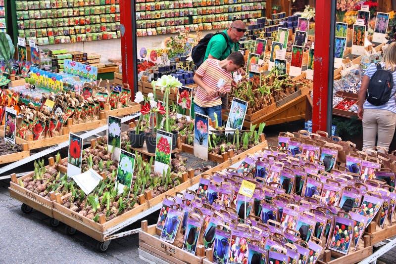 Amsterdam Bloemenmarkt fotografering för bildbyråer