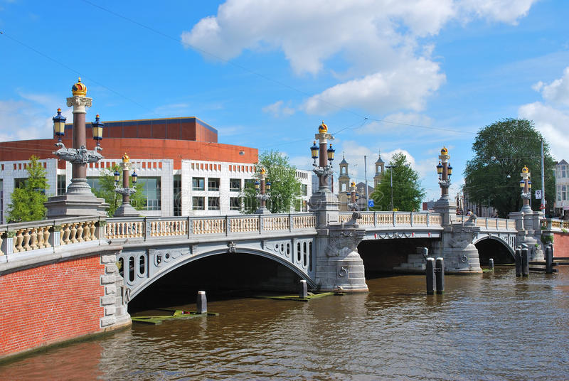 Amsterdam. Blue Bridge stock images
