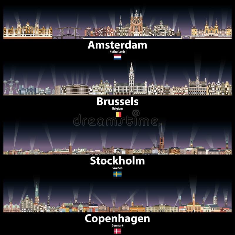 Amsterdam, Bruksela, Sztokholm i Kopenhaga wektorowe abstrakcjonistyczne linie horyzontu przy nocą z jaskrawym miastem, zaświecaj ilustracji