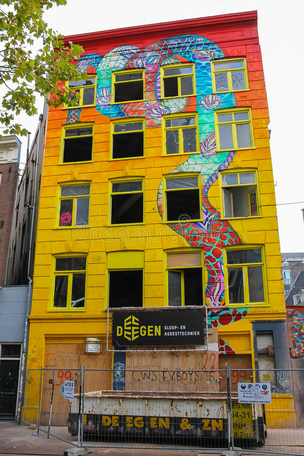 Amsterdam building art in historic city centre. Netherlands stock photography