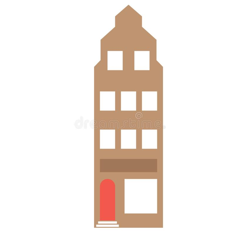 Amsterdam building flat color flat color illustration. Amsterdam building flat color illustration, element of design. City landmark icon, old historic building royalty free illustration