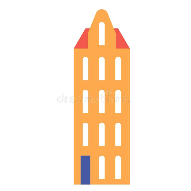 Amsterdam building flat color flat color illustration. Amsterdam building flat color illustration, element of design. City landmark icon, old historic building vector illustration