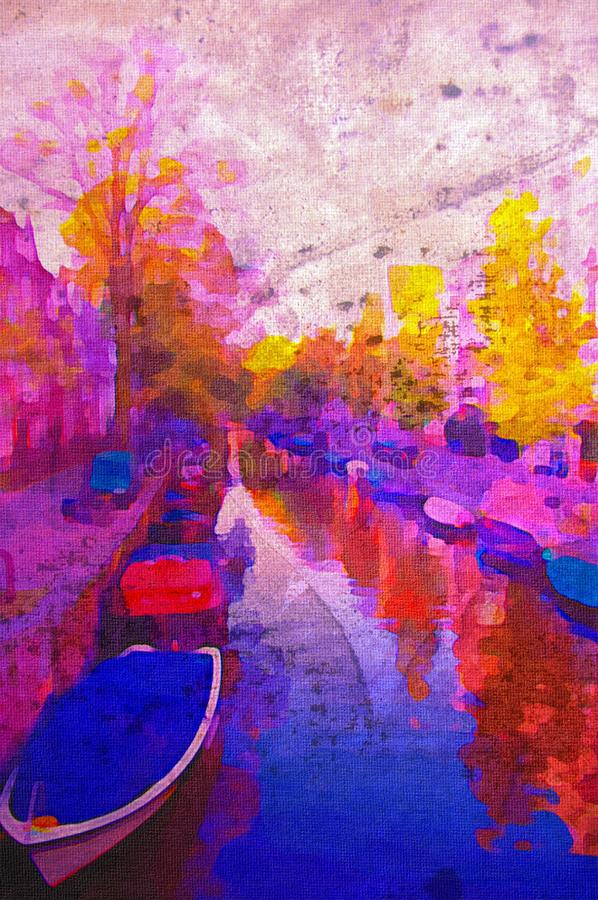 Amsterdam canal. Oil painting of amsterdam canal early morning light royalty free illustration