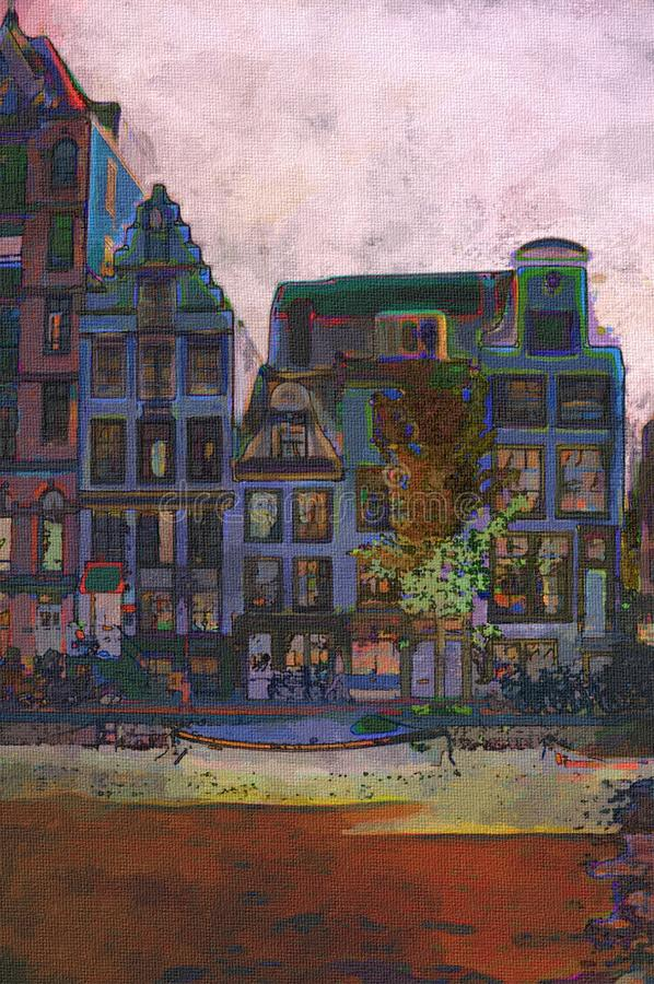 Amsterdam canal. Oil painting of amsterdam canal early morning light vector illustration