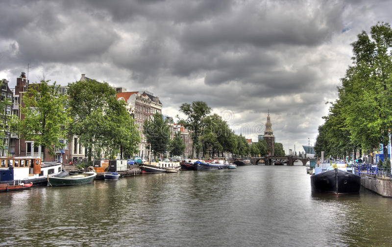 Download Amsterdam Canal stock image. Image of clouds, town, dutch - 16426485