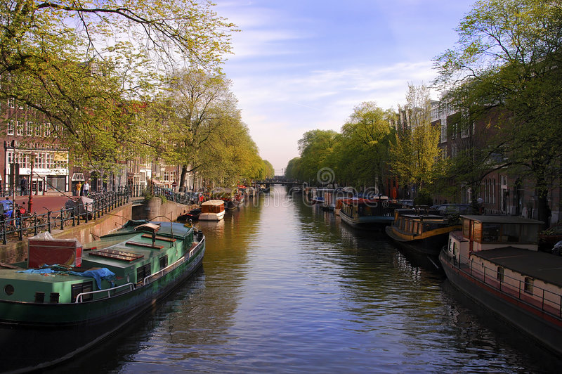Amsterdam canal. Classic canal in amsterdam