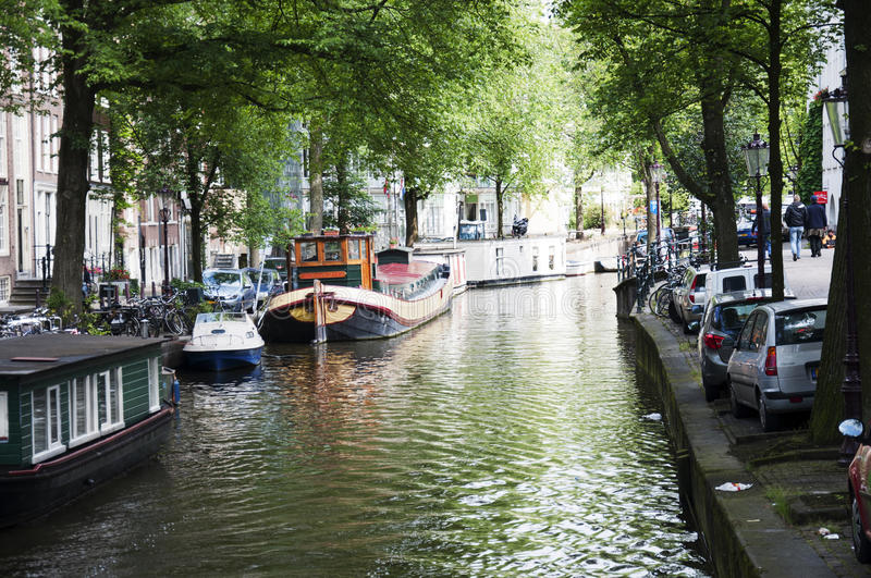 Amsterdam canal with houseboats