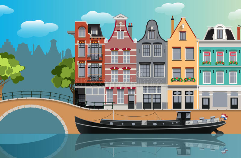 Amsterdam canal landscape. Flat illustration stock illustration