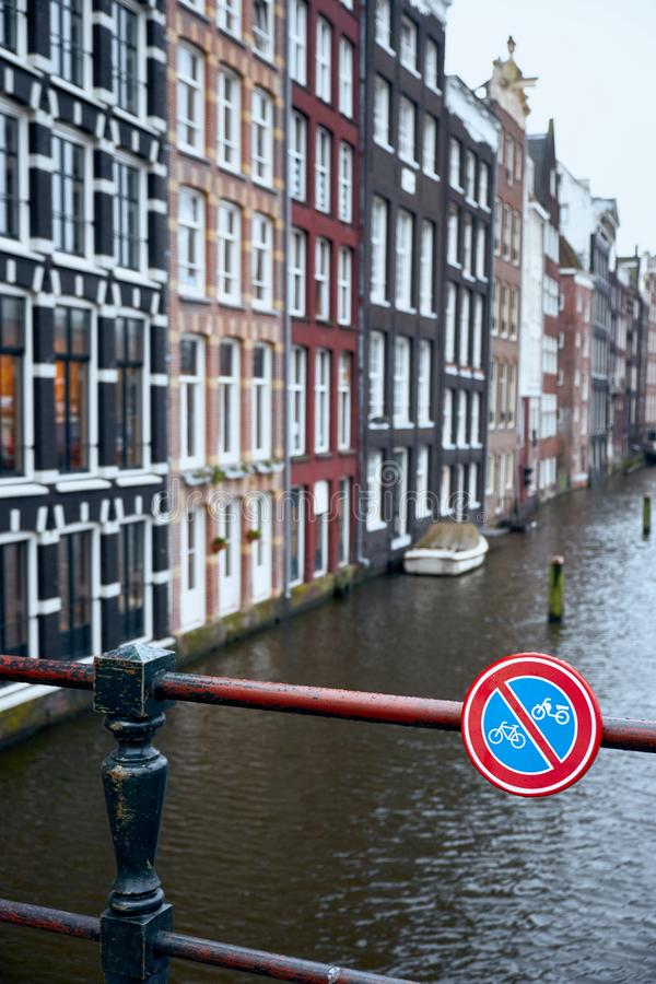 Amsterdam canal. Prohibition sign. Warning and forbidden for parking, traffic to bike and motorbike.  stock image