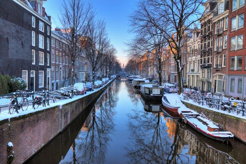 Amsterdam canal reflection stock photos