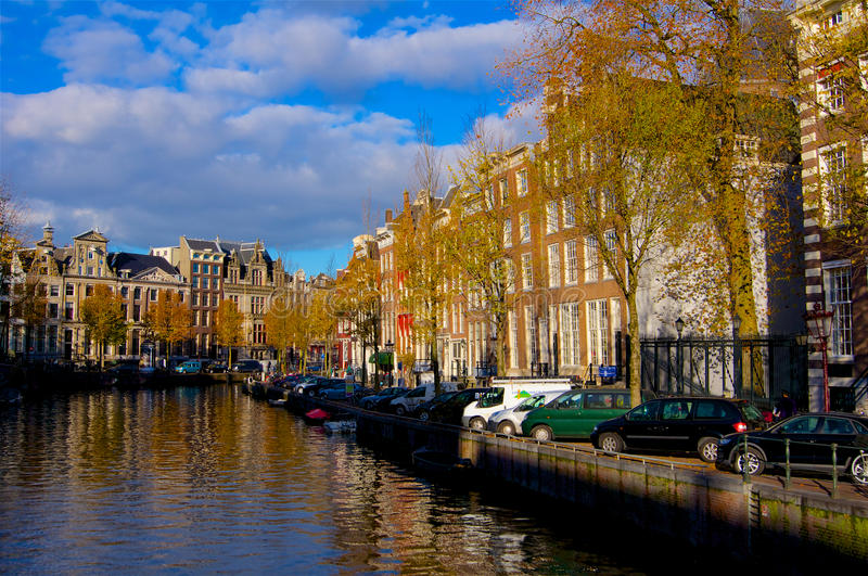 Amsterdam canal river in autumn. Netherlands stock photos