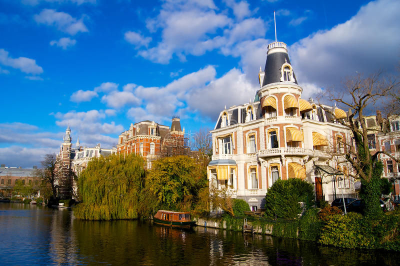Amsterdam canal river in autumn. Netherlands stock photography