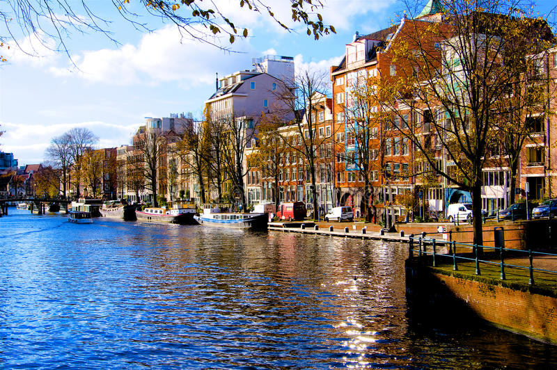 Amsterdam canal river in autumn Netherlands. Europe stock images