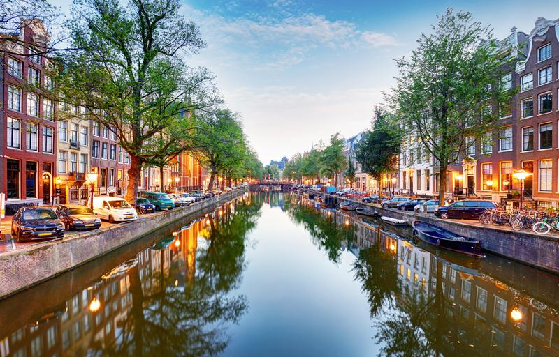 Amsterdam canal Singel with typical dutch houses, Holland, Netherlands. stock images