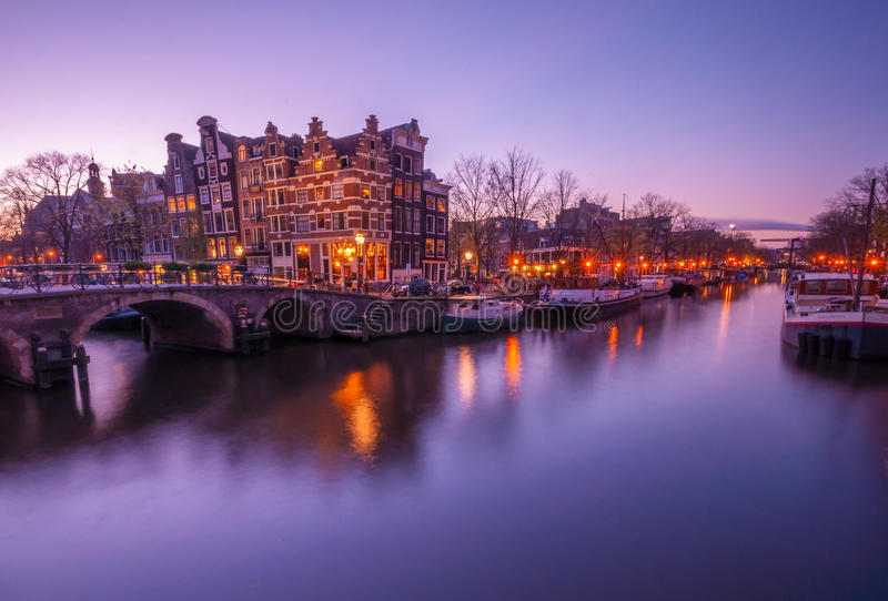 Amsterdam canal view in evening (long exposure shot) stock images
