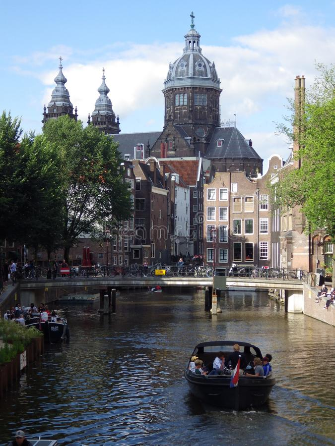 Amsterdam canals with boats, Netherlands stock images