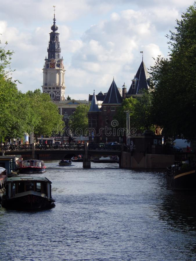 Amsterdam canals with boats, Netherlands stock image