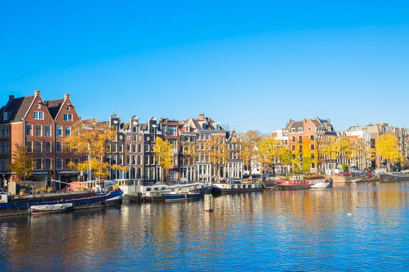 Amsterdam canals. Old houses along the canals stock image