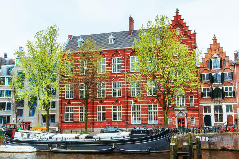 Amsterdam canals and typical houses. Amsterdam is the capital and most populous city in Netherlands stock images