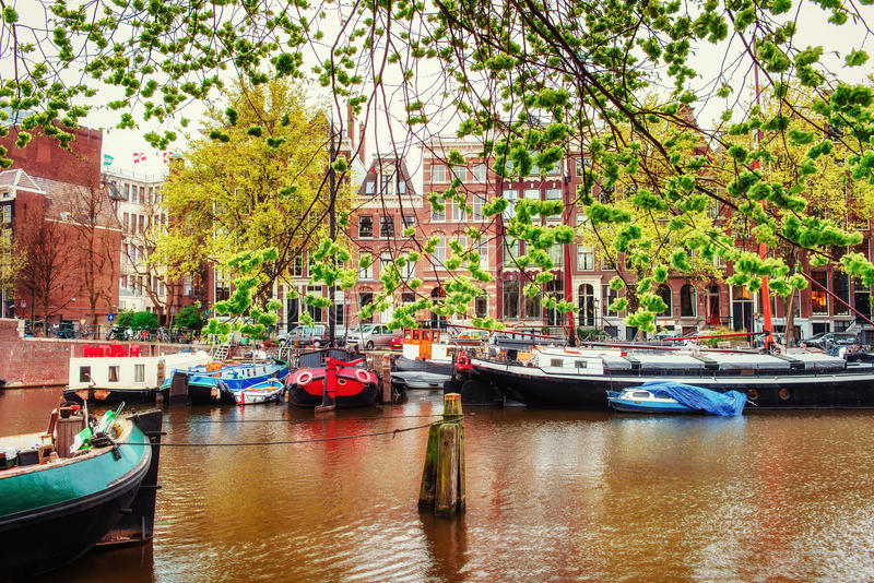 Amsterdam canals and typical houses. Amsterdam is the capital and most populous city in Netherlands royalty free stock images
