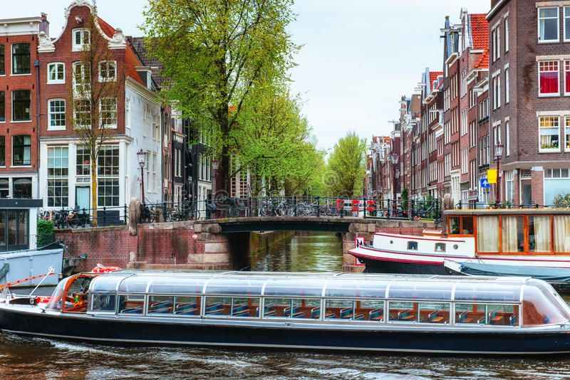 Amsterdam canals and typical houses. royalty free stock images