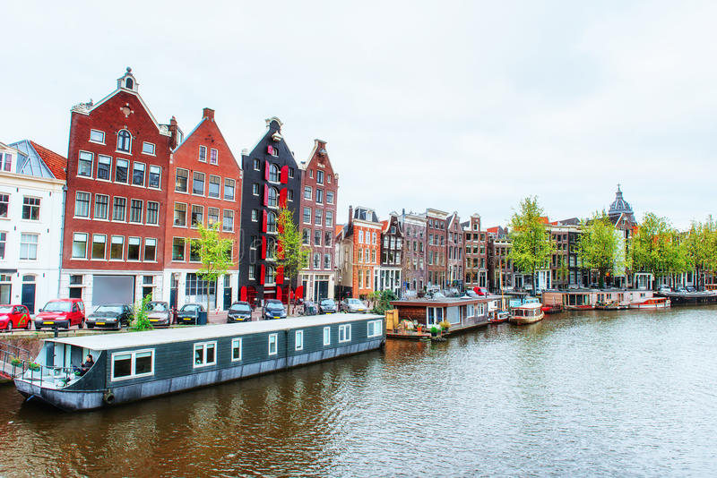 Amsterdam canals and typical houses. stock image