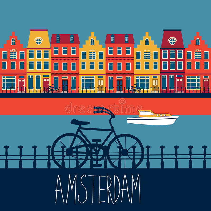 Amsterdam card. Colorful illustration of Amsterdam street with view to a channel vector illustration