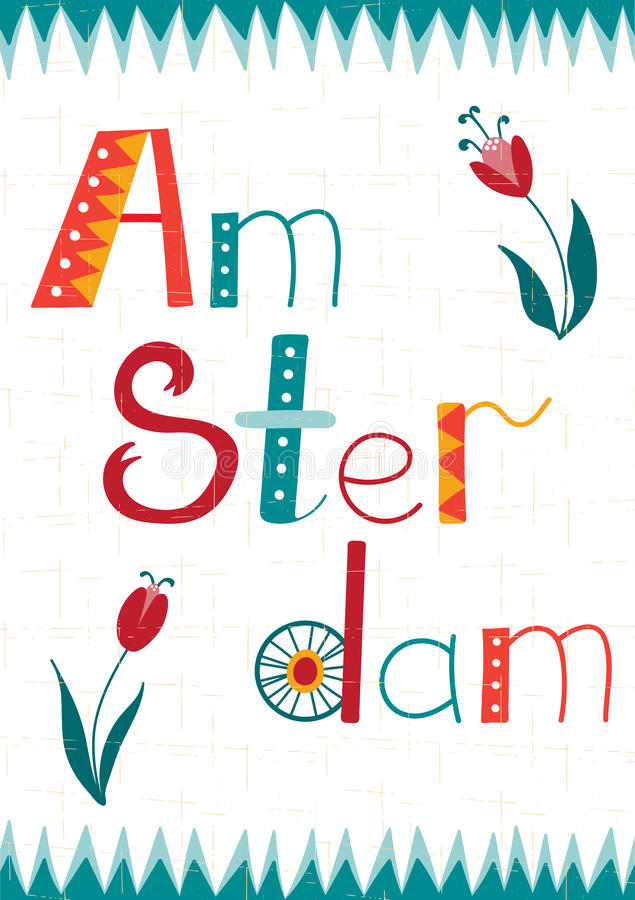 Amsterdam card template. Amsterdam vector card template with lettering and removable texture. Travel touristic background. For greeting cards, travel brochures stock illustration