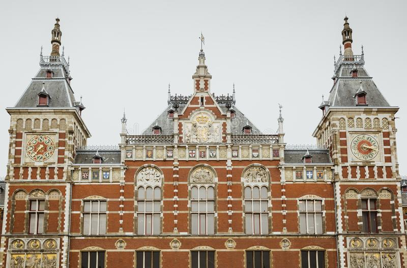 Amsterdam Centraal Station buildings. Amsterdam Centraal Station photographed frontally stock photo