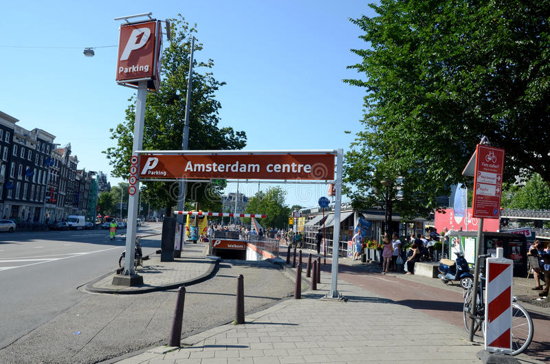 Download Amsterdam centre parking editorial stock photo. Image of european - 28553083