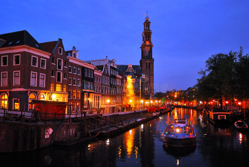 Amsterdam. Channel Prinsengraht at night stock photography