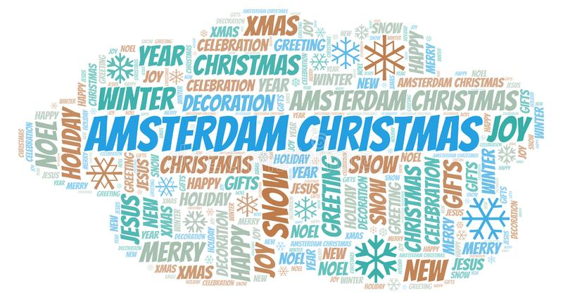 Amsterdam Christmas word cloud. Wordcloud made with text only vector illustration