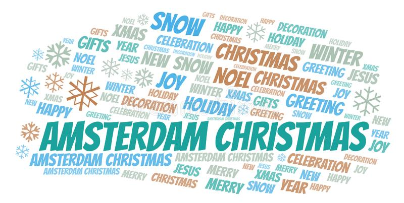Amsterdam Christmas word cloud. Wordcloud made with text only stock illustration