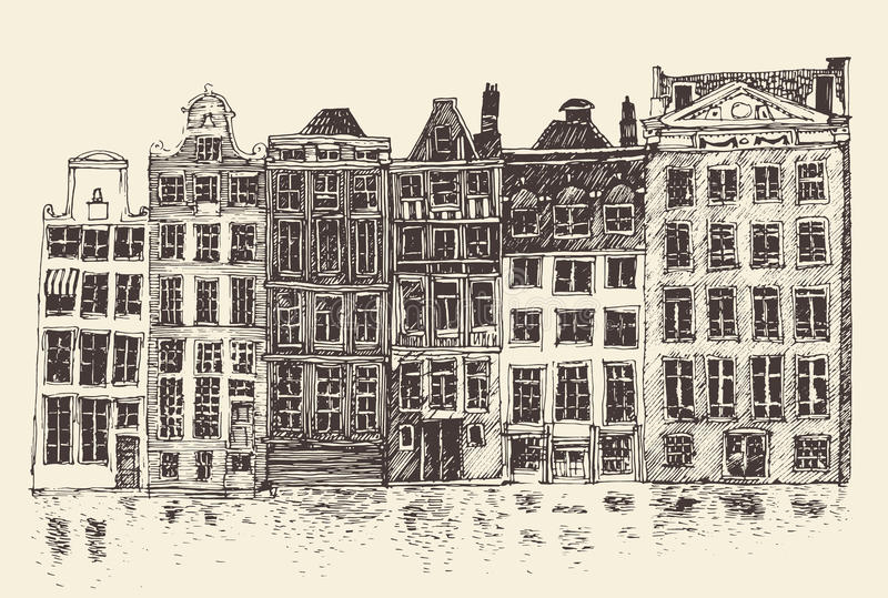 Amsterdam, city architecture, vintage engraved illustration. Hand drawn royalty free illustration