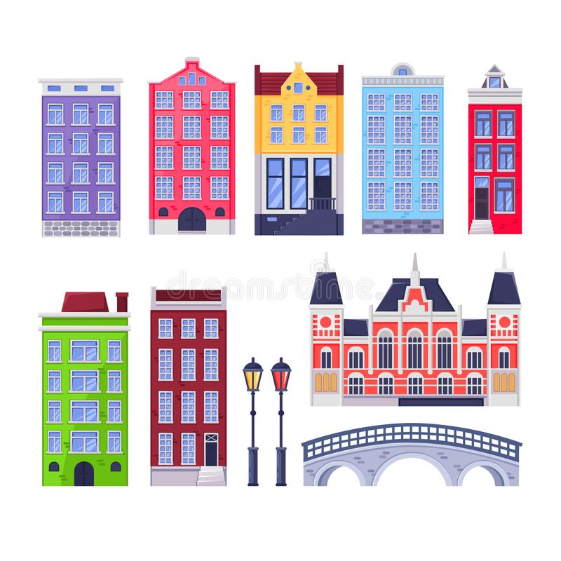 Amsterdam city buildings landmark. Multicolor holland old houses. Vector cartoon illustration. Travel design elements stock illustration