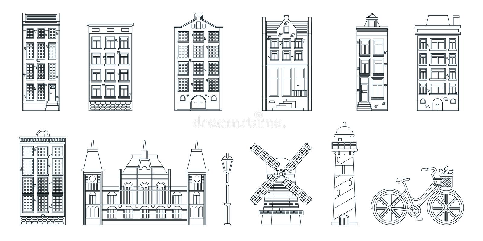 Amsterdam city buildings line art black white isolated icons. Vector illustration. Travel to Netherlands design elements. Amsterdam city buildings, mill stock illustration