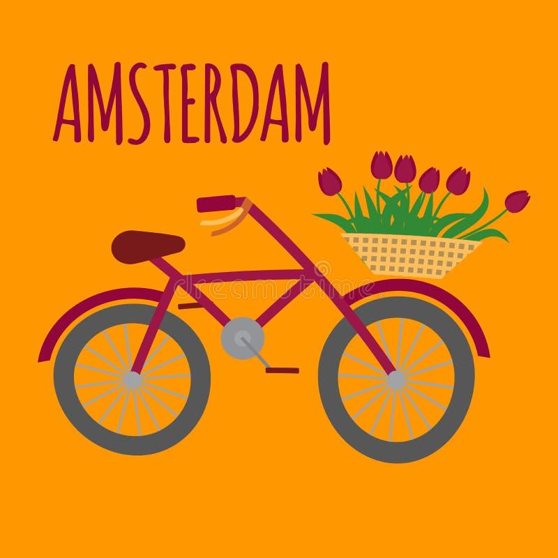 Amsterdam city flat art. Travel landmark, Netherlands bicycle, Holland bike and flowers vector illustration