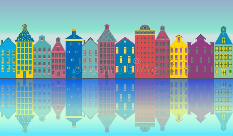 Amsterdam city illustration day. Amsterdam city landscape futuristic beautiful illustration , vector facades clouds , canal , sun , houses .Holland , tourist vector illustration
