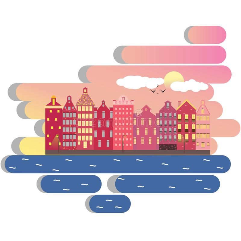 Amsterdam city illustration day clouds concept. Amsterdam city landscape futuristic beautiful illustration , vector facades clouds , canal , sun , houses stock illustration