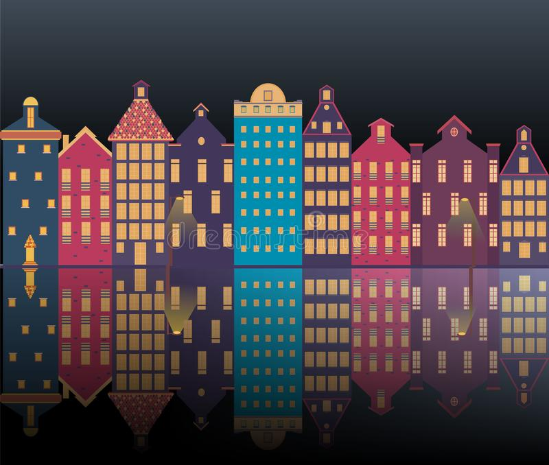 Amsterdam city illustration night. Amsterdam city landscape futuristic beautiful illustration , vector facades clouds , canal , sun , houses .Holland , tourist royalty free illustration