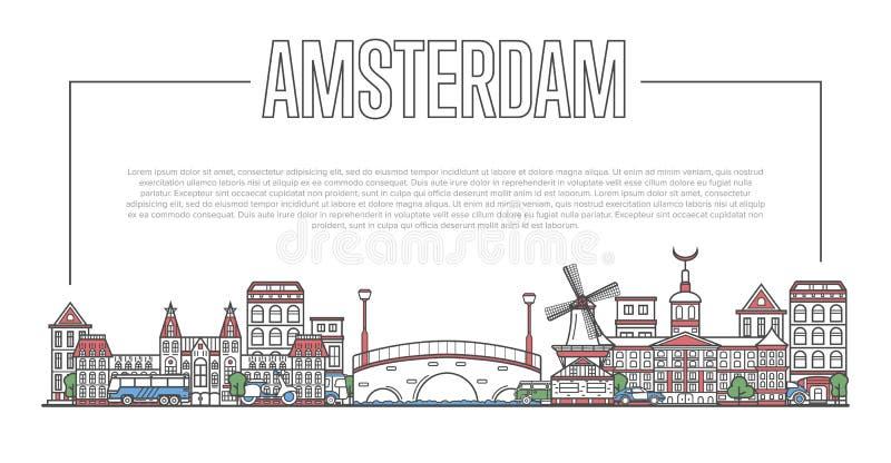 Amsterdam landmark panorama in linear style. Amsterdam city landmark panorama with famous modern and ancient architecture in linear style. Amsterdam national royalty free illustration