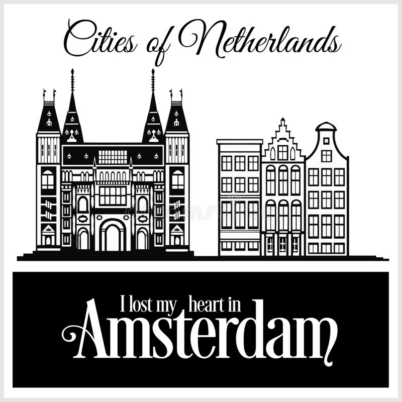 Amsterdam - City in Netherlands. Detailed architecture. Trendy vector illustration. Amsterdam - City in Netherlands. Detailed architecture. Trendy vector stock illustration