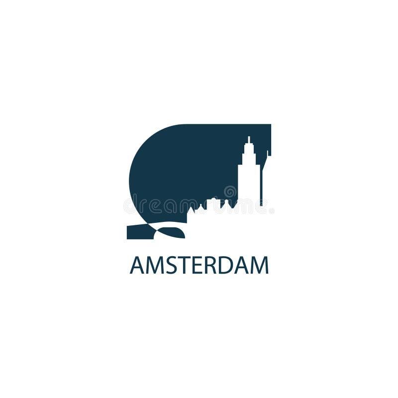 Amsterdam city panorama logo. Netherlands Amsterdam city panorama view landscape flat modern color icon logo royalty free illustration