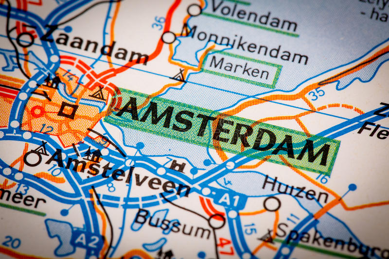 Amsterdam City on a Road Map. Map Photography: Amsterdam City on a Road Map royalty free stock image