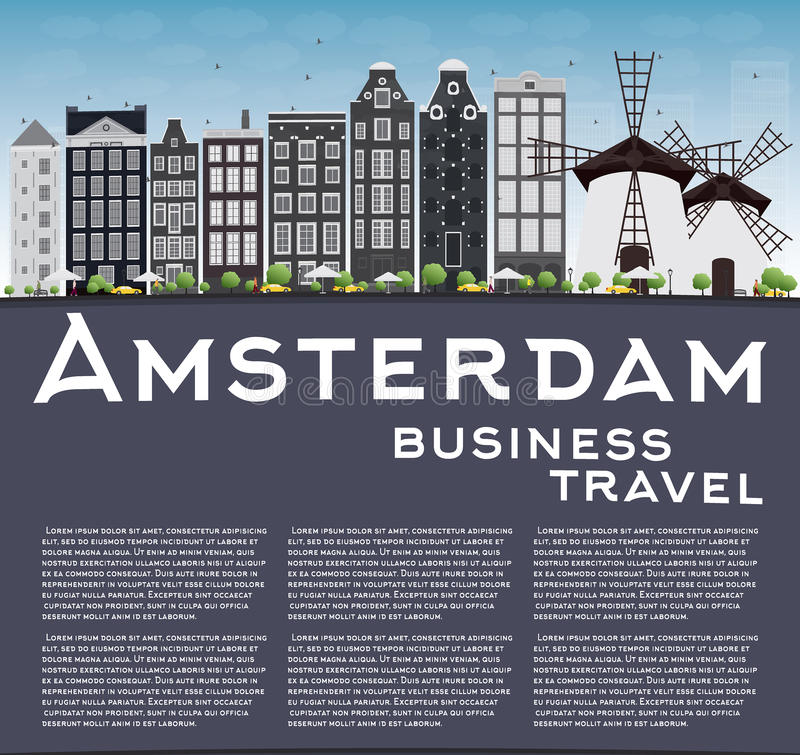 Amsterdam city skyline with grey buildings, blue sky and copy sp. Ace. Vector illustration. Business travel and tourism concept with place for text. Image for royalty free illustration