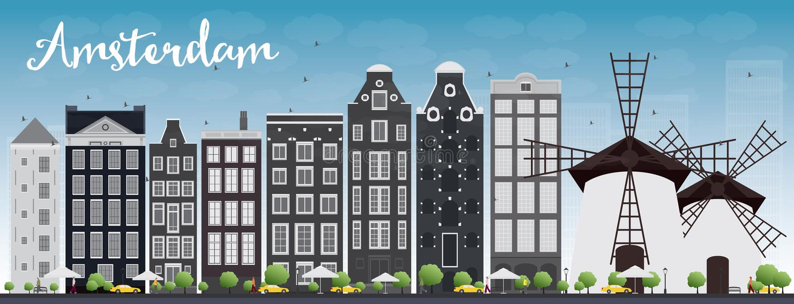 Amsterdam city skyline with grey buildings and blue sky. Vector illustration. Business travel and tourism concept with historic buildings. Image for royalty free illustration