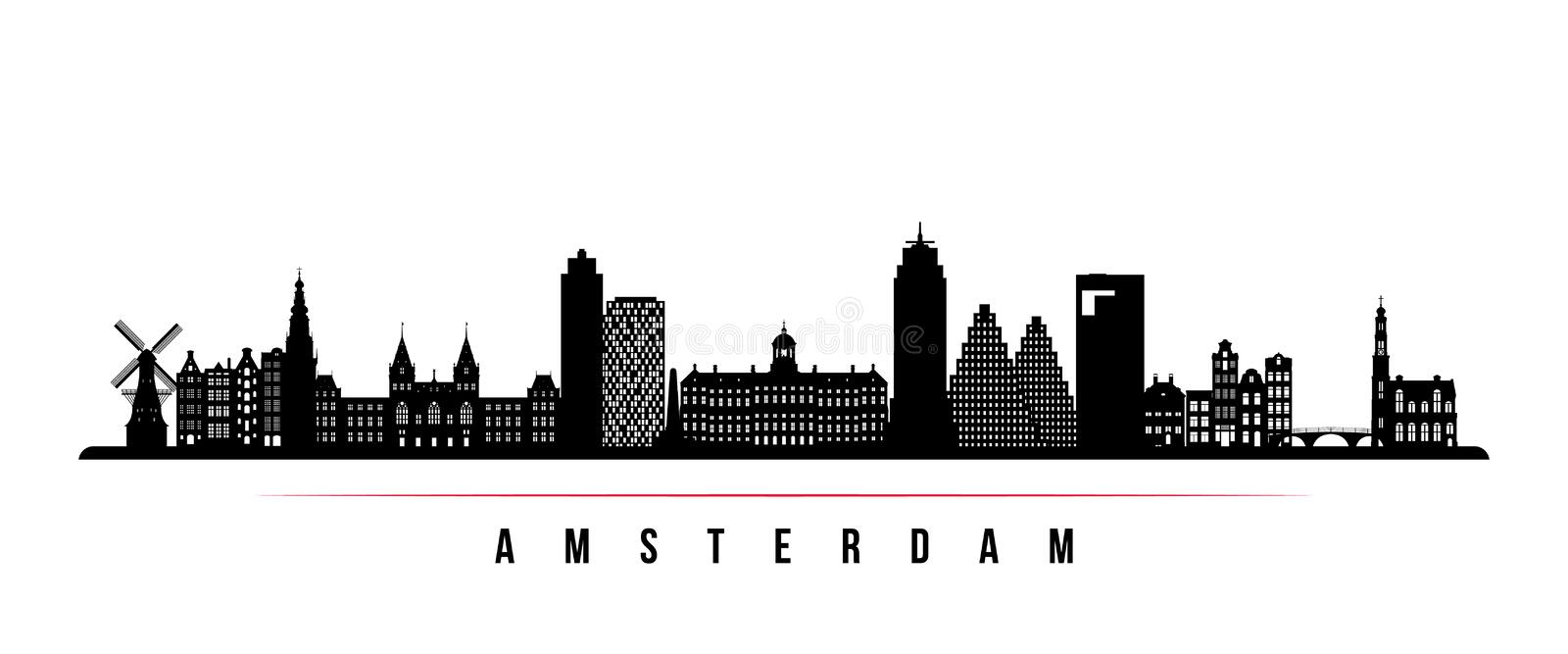 Amsterdam city skyline horizontal banner. Black and white silhouette of Amsterdam city, Netherlands. Vector template for your design stock illustration