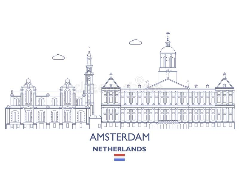 Amsterdam City Skyline, Netherlands. Amsterdam Linear City Skyline, Netherlands stock illustration