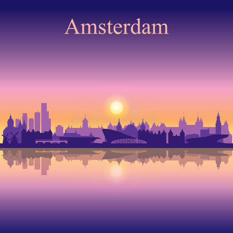 Amsterdam city skyline silhouette background. Vector illustration stock illustration