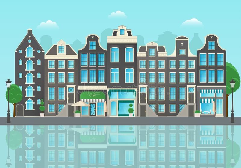 Amsterdam city street with reflections of houses in the water vector illustration